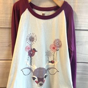 Tea Collection Winter Reindeer Raglan Tee Shirt 7